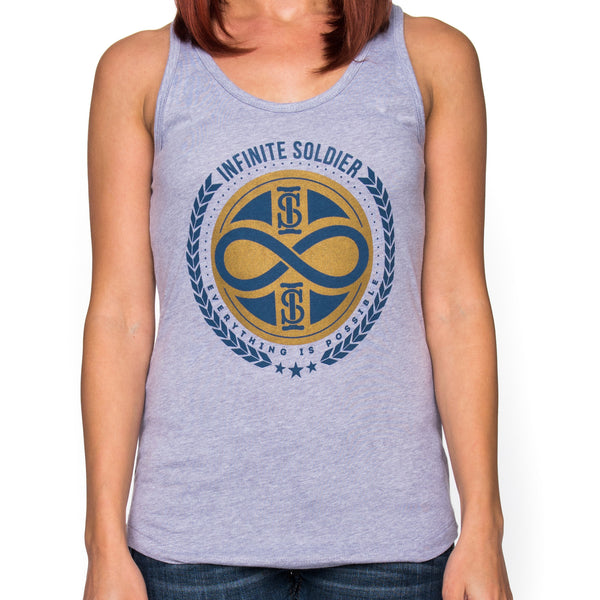 Ladies Infinity  Stamp Heather Gray Racer Back Tank Top