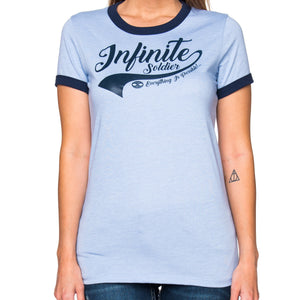 Ladies Infinity Swoosh Heather Blue & Navy Graphic T-Shirt