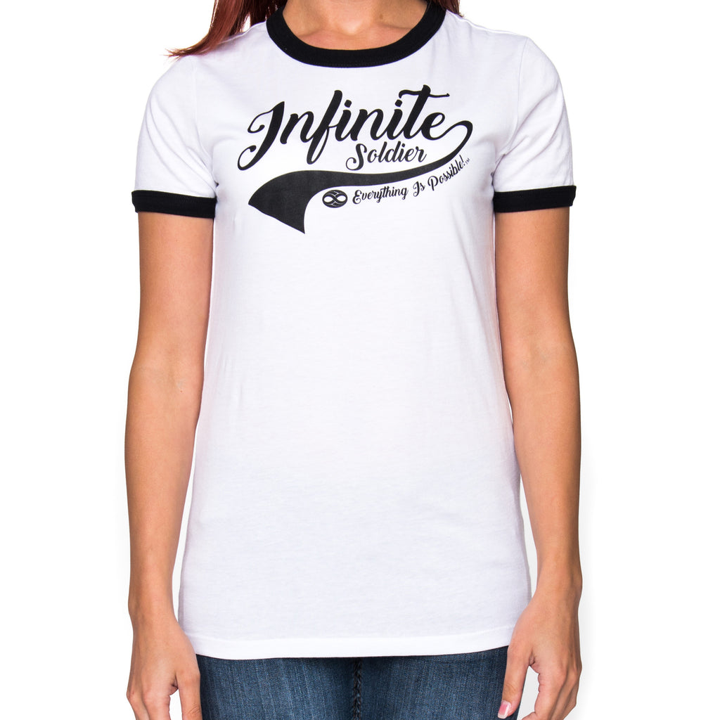 Ladies Infinity Swoosh White & Black Ringer Graphic T-Shirt