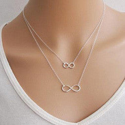 Double Infinity Symbol Platinum Plated Pendant Dual Chain Necklace
