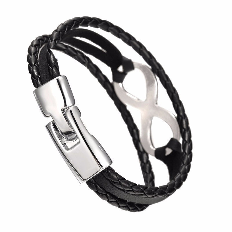Silver Plated Infinity Leather Bangle Bracelet for Men or Women