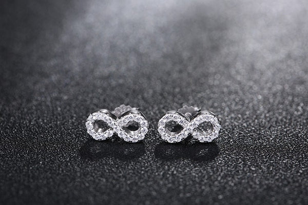 Sterling Silver Infinity Stud Earrings with Micro Pave Crystal