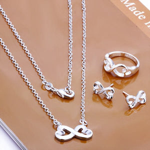 Silver Plated Infinity Bowknot Necklace, Ring & Earring Set