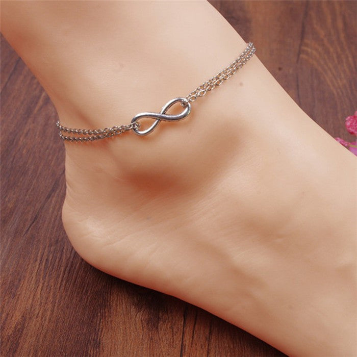 Double Layer Silver Plated Infinity Anklet/Bracelet