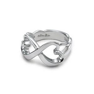 Infinity Heart Silver Plated Rings - Sizes 8-10