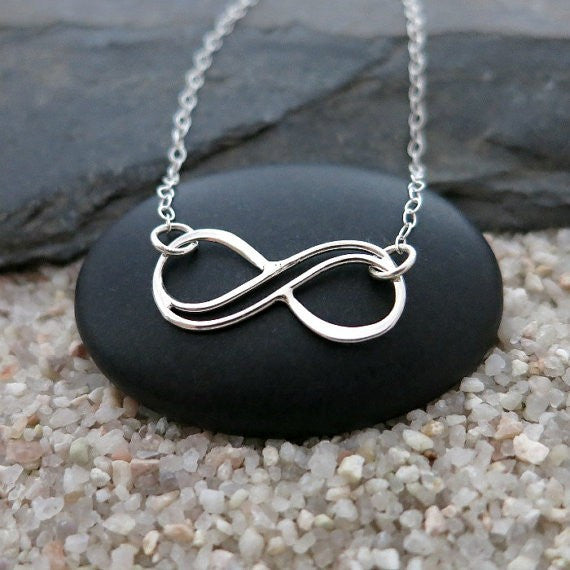 Double Wire Infinity Symbol Silver Pendant Necklace Casual and Formal Women