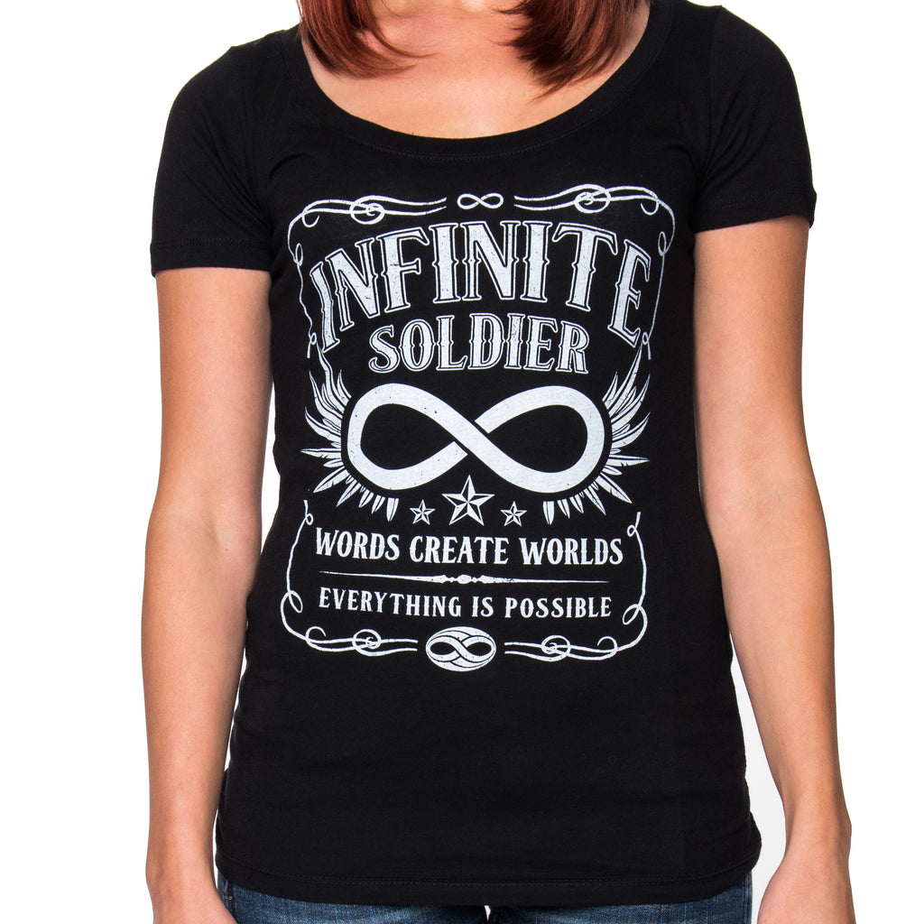 Ladies Vintage Infinity Black Short Sleeve Tee