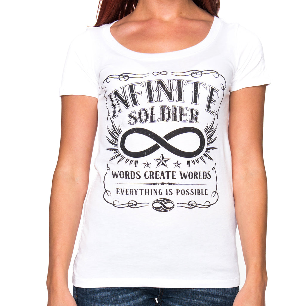 Ladies Vintage Infinity White Short Sleeve Scoop Neck Tee
