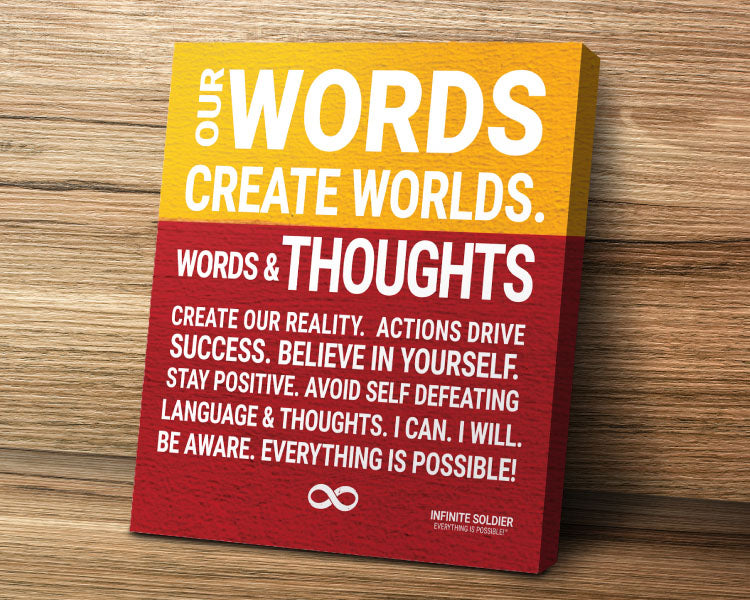 Words Create Words Motivational Canvas Poster Art