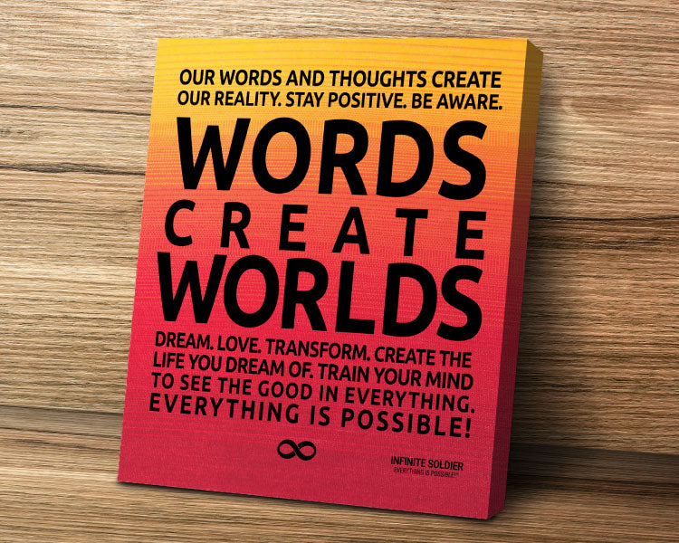 'Words Create Worlds' Motivational Mounted Canvas Print - Orange Poster