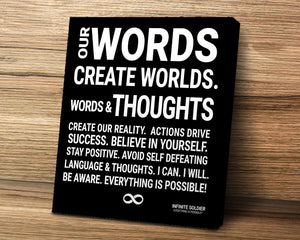 Motivational canvas print poster - words create worlds, positive thinking