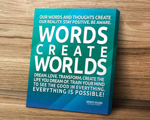 Blue Words Create Worlds Square Mounted Canvas Poster