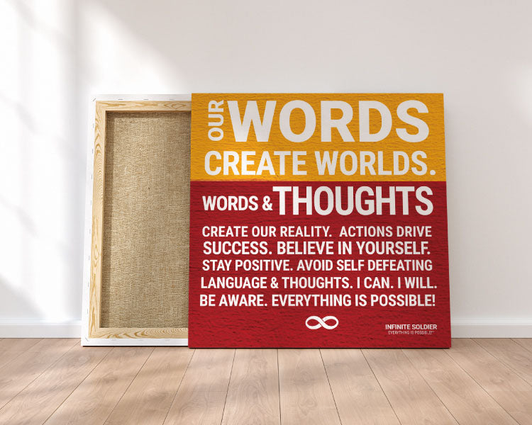 'Words Create Worlds' Motivational Mounted Canvas Print - Red & Orange Poster