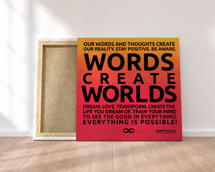 'Words Create Worlds' Motivational Poster Canvas Print - Orange