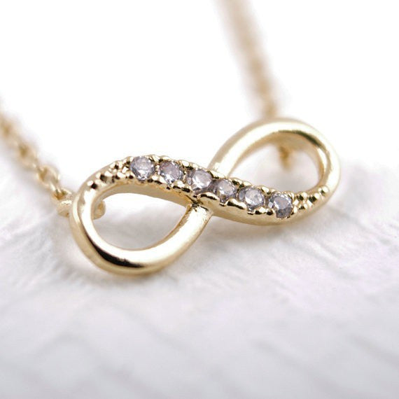 Tiny Infinity Symbol Gold Plated Pendant Necklace with Rhinestones Casual and Formal Women