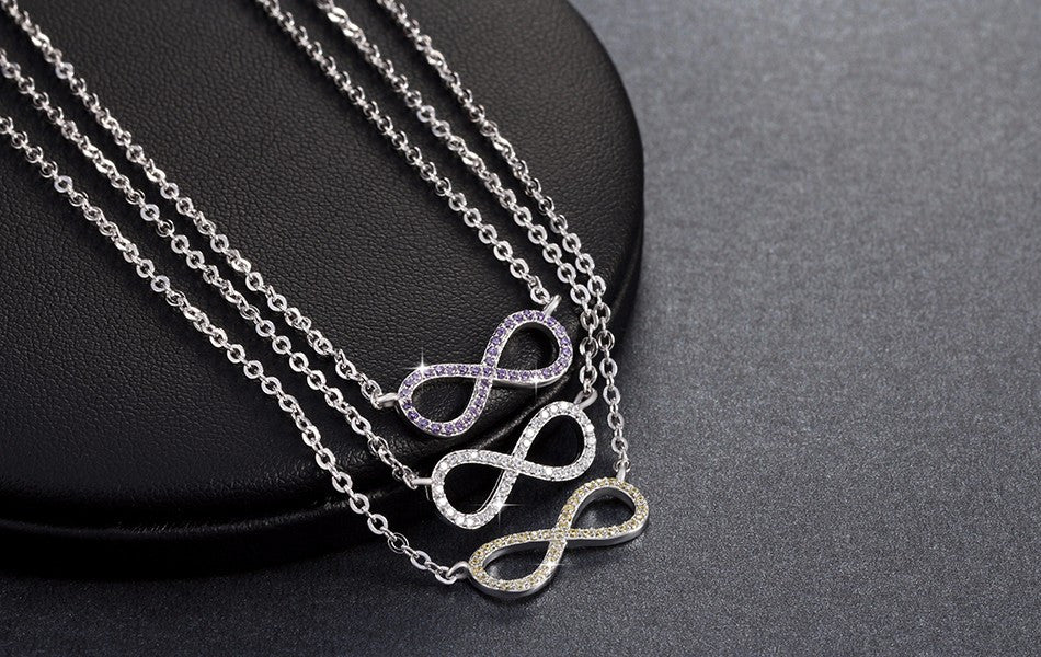 Silver Infinity Symbol Necklace with Clear Zircon Crystals