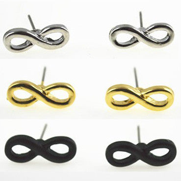 Lucky Infinity Stud Earrings - Black, Silver Tone or Gold Tone