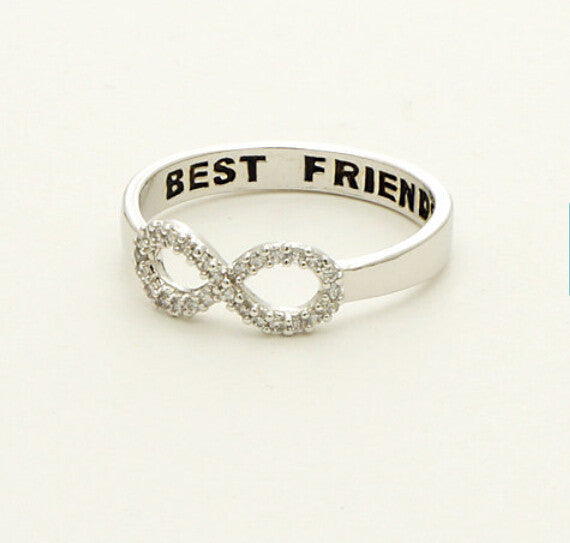 Ladies Best Friend Infinity Symbol Ring Silver Size 6 5