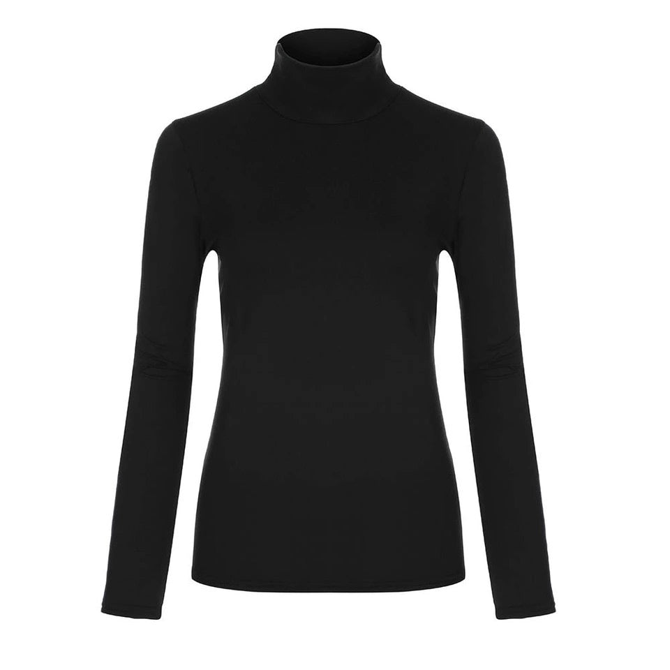 black long-sleeved mock neck