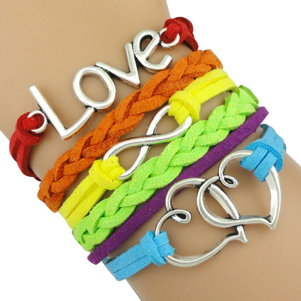 Gay Pride LGBT Rainbow Heart Infinite Love Leather Wrap Bracelet
