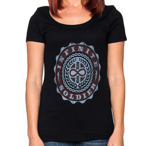 Ladies Infinity Emblem Short Sleeve Black Scoop Neck Tee