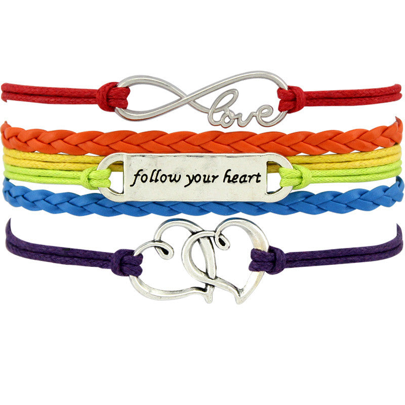 Gay Pride LGBT 'Follow Your Heart' Rainbow Wrap Bracelet