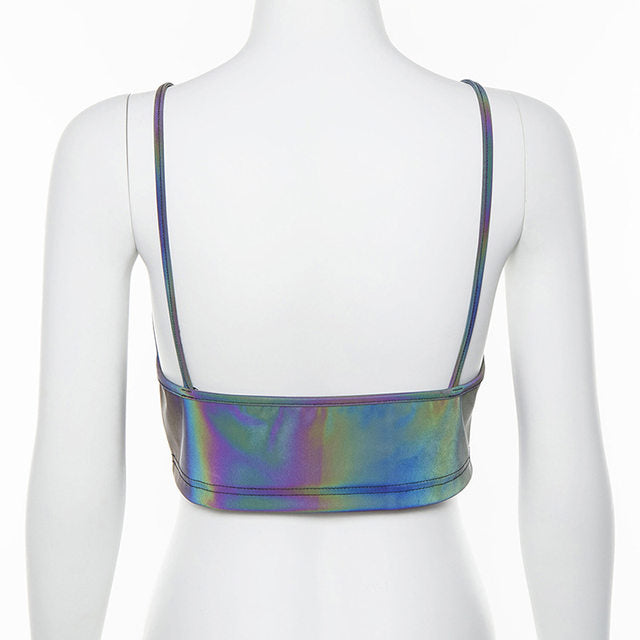 holographic spaghetti strapped crop top