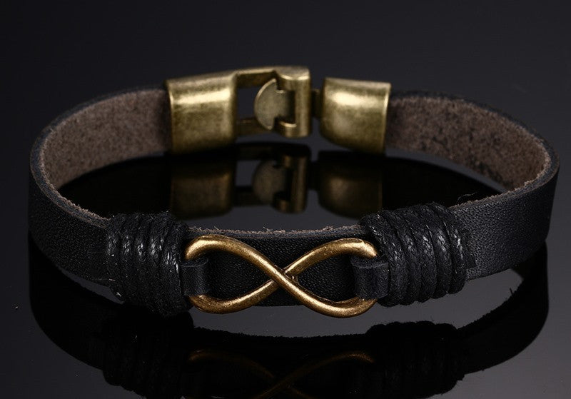 Genuine Black Leather Infinity Symbol Bracelet with Bronze Alloy and Buckle