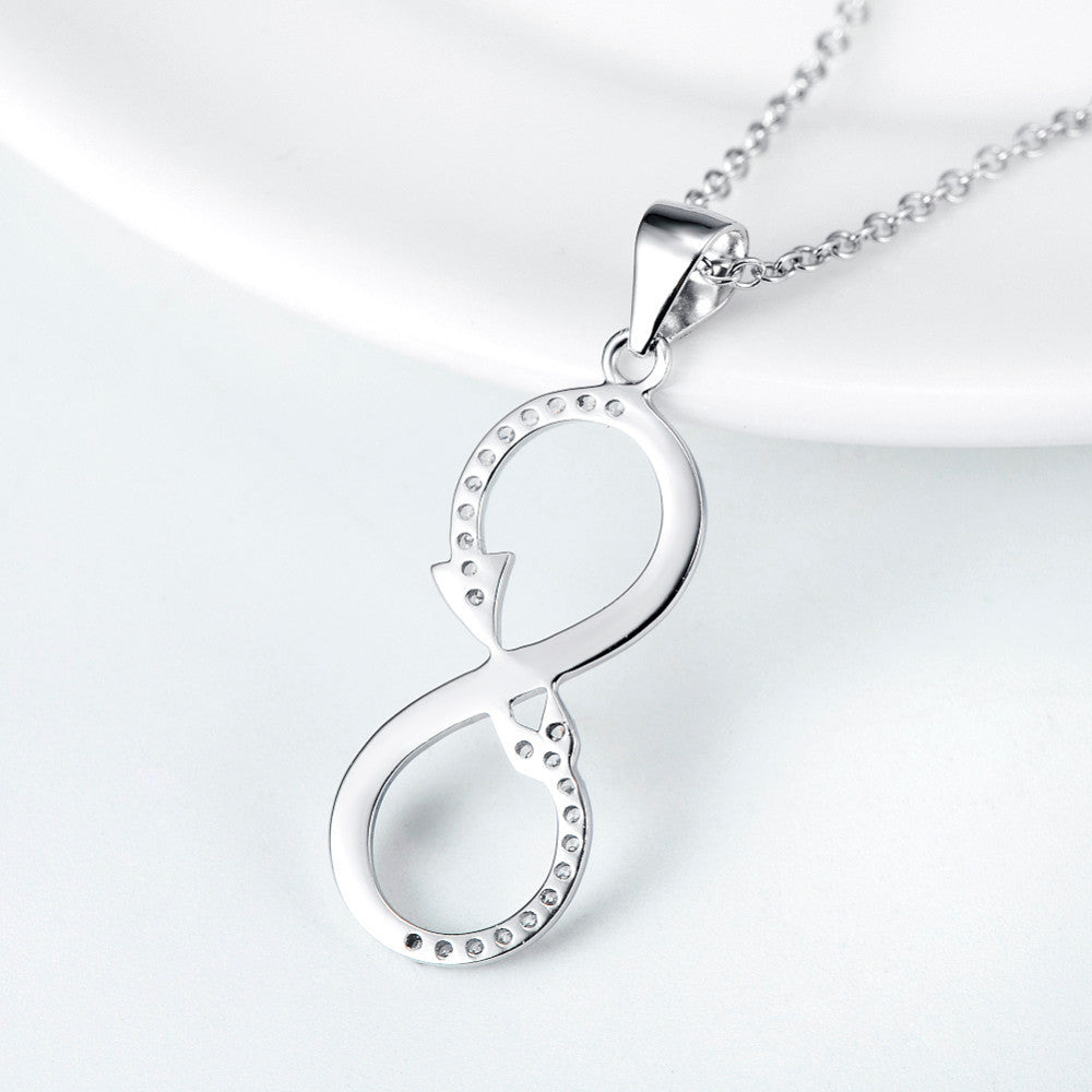 Sterling Silver Infinity Love Arrow Pendant Necklace