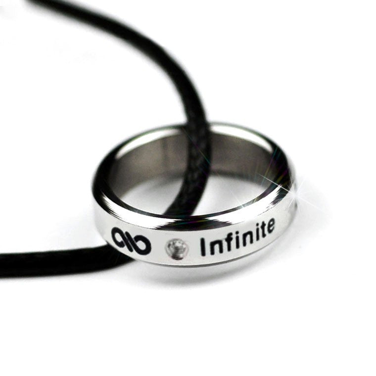 Unisex Titanium Steel Infinity Sign Leather Necklace & Ring