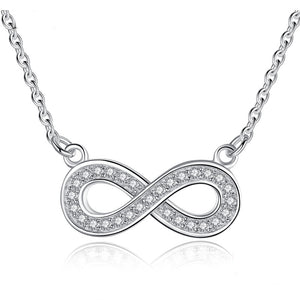 Infinity Symbol Sterling Silver Crystal Pendant Necklace Casual and Formal Women