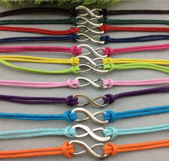 Infinity Wish Bracelet with Wax Cord and Silver Infinity Charm - Assorted Colors