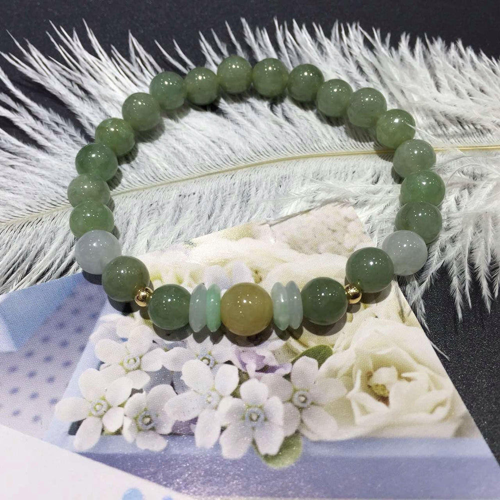 Genuine Jadeite Beaded Stretch Bracelet with Gold Beads