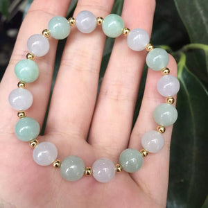 Genuine Light Green/Gray Jadeite Beaded Stretch Bracelet with Gold Beads