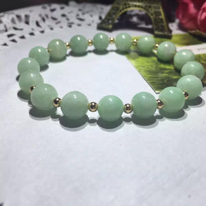 Genuine Light Green Natural Jadeite Beaded Stretch Bracelet with Gold Beads