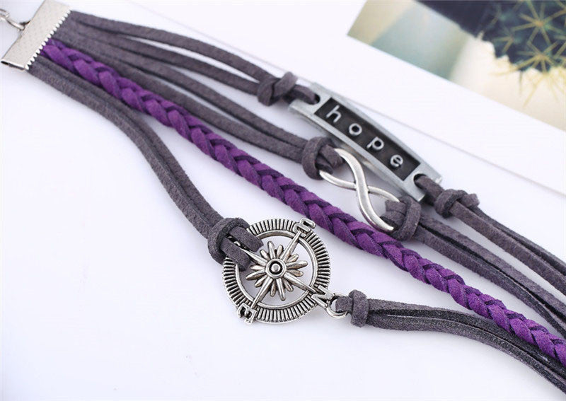 Handmade Grey & Purple Leather Compass Hope Infinity Charm Bracelet