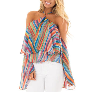 off the Shoulder Striped Chiffon Rainbow Top