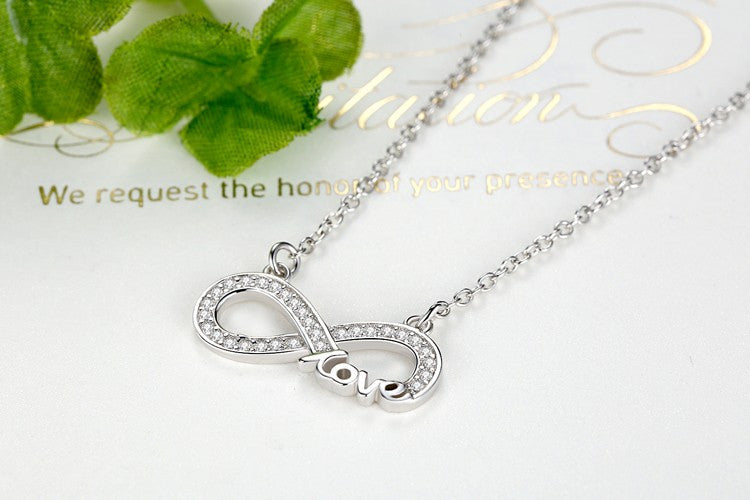 925 Sterling Silver Infinity Sign & Love Necklace