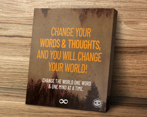 'Change Your World' Motivational Mounted Canvas Print- Orange