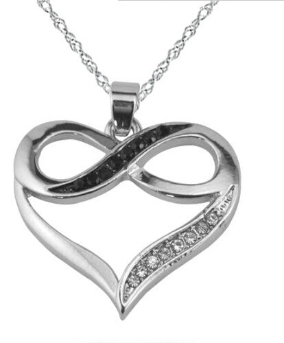 Rhodium Plated Infinity Symbol Love Heart Necklace with Black and White Crystals Casual and Formal Women