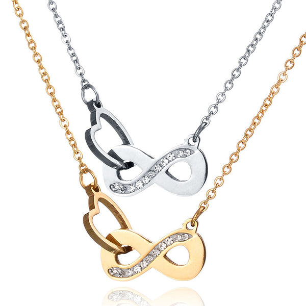 Never Fade Infinity Symbol Heart Gold Steel Rose Gold Pendant Necklace with Rhinestones Casual and Formal Women