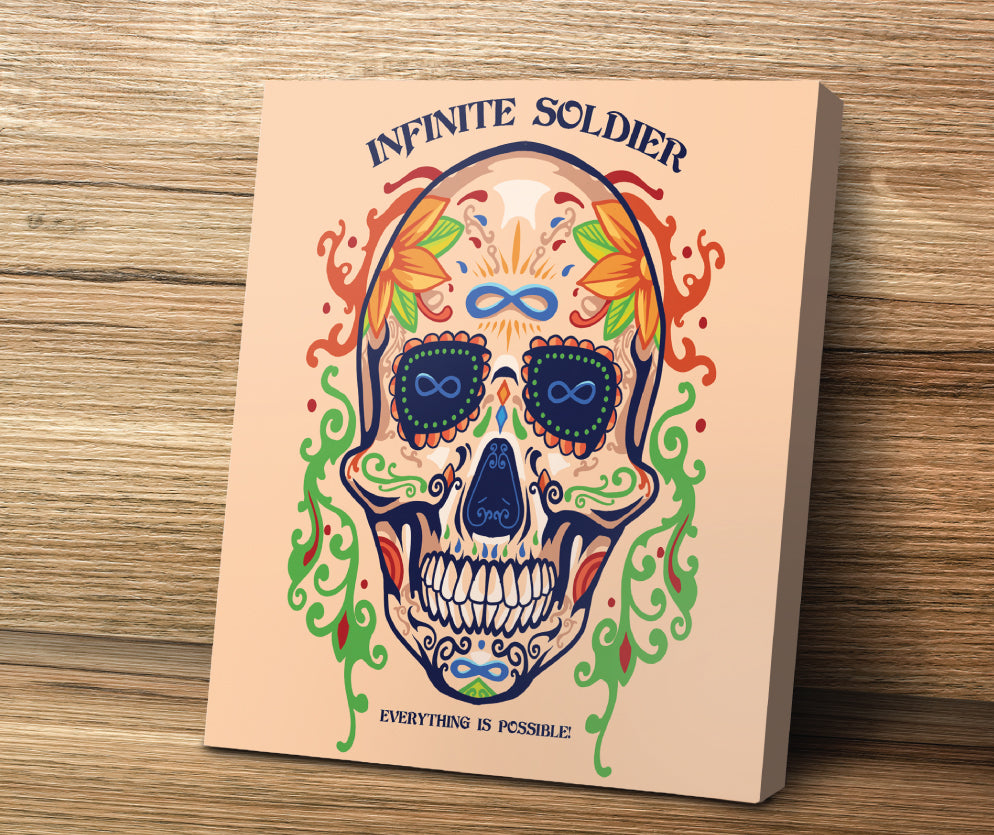 Sugar Skull To Infinity Mounted Canvas Print - Peach