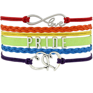 Gay Pride LGBT bracelets infinite love and heart charms