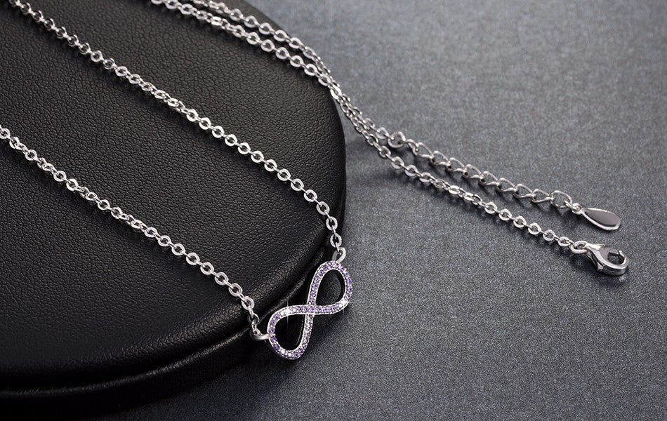Copy of Silver Infinity Symbol Necklace with Purple Zircon Crystals