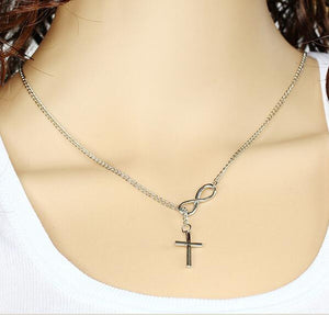 Brilliant Jewel Infinity Symbol and Cross Silver Plated Pendant Necklace Eco-friendly Casual and Formal Women