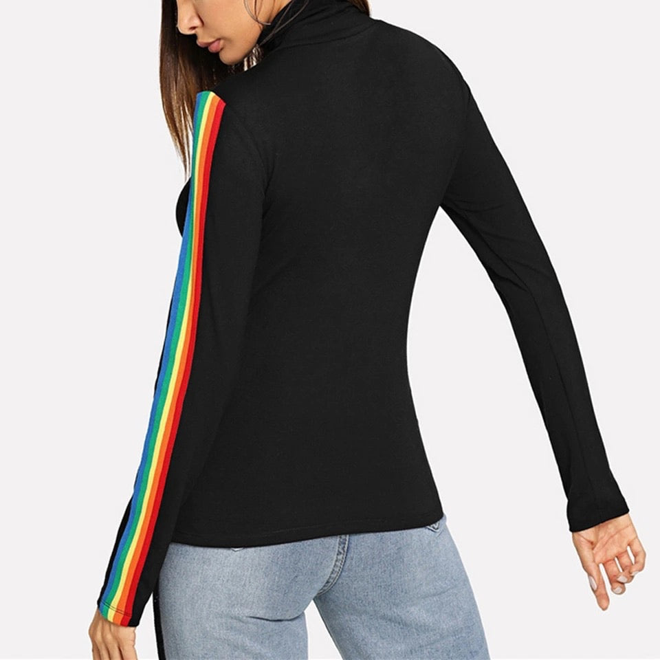 rainbow striped mock neck top