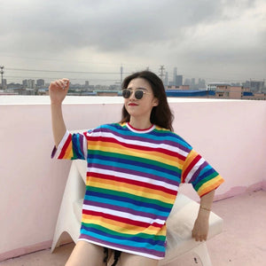 rainbow striped t-shirt cute