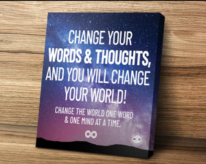 'Change Your World' Motivational Mounted Canvas Print- Sky