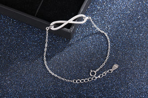 Exquisite 925 Sterling Silver Micro Pave Crystal Infinity Bangle Bracelet