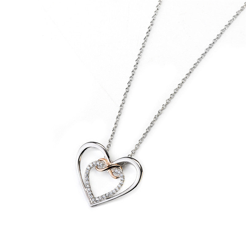 Genuine Love Sterling Silver Infinity Symbol Crystal Heart Pendant Necklace Casual and Formal Women